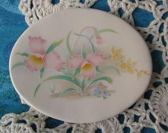 Small Oval Dish Pink Daffodils Design Ceramic Teabag Holder, Spoon Rest or Trinket Dish