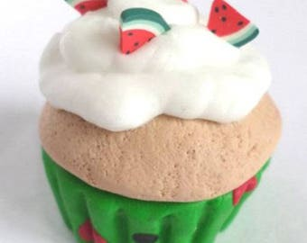 Watermelon and white whipped cream cupcake polymer clay necklace