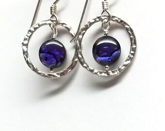 Silver & Dark Blue Earrings, Mother of Pearl Bead with Sterling Hoop Earrings