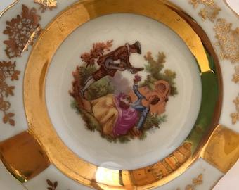Vintage Limoges  22 Kt Gold-Porcelain- Courting Couple - Fragonard France Ash Tray- S A Limoges
