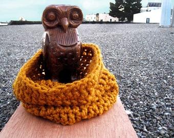 Trophy Gold Handmade Cowl Scarf - Cozy Neck Warmer - Warm and Stylin - Bulky Knit - Mustard - Crochet