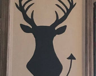 Frame Buck Deer Antler Silhouette on Canvas