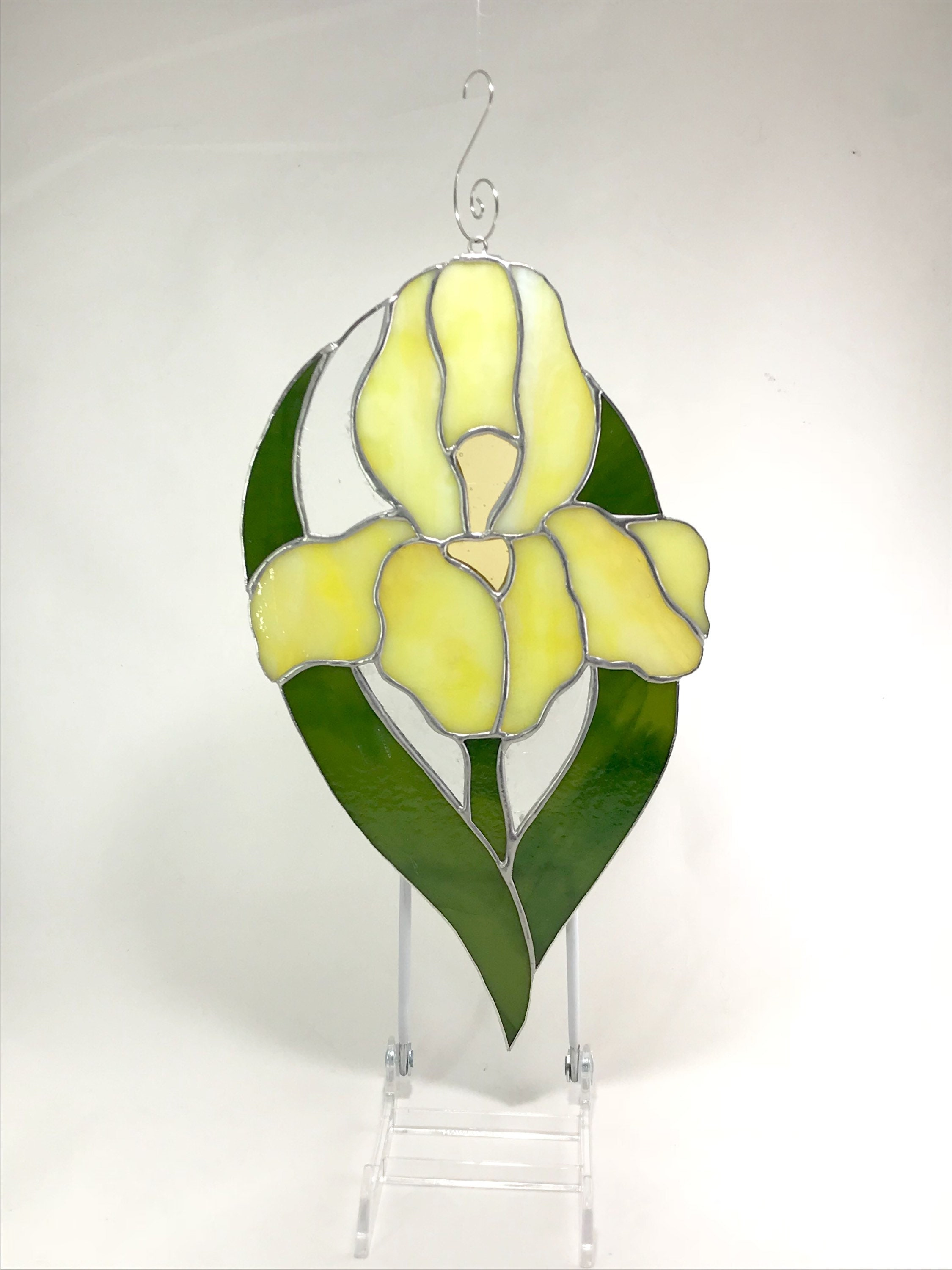 Stained Glass Yellow Bearded Iris Flower Sun Catcher, Window Hanging ...