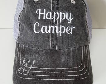 Happy Camper Embroidered Hat with Choice of Thread Color