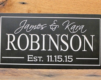 Family Last name sign plaque Carved Personalized Family Name Sign Makes Great Wedding Gift