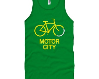 Bike Motor City Tank Top - Unisex - XS S M L XL 2x - Detroit Tank T-shirt - Men and Women - Detroit Cycling Tee - 3 Colors