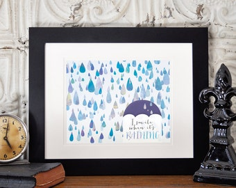 Happy Raindrops Printable Art, April Showers Print, I Smile When It's Raining INSTANT DOWNLOAD
