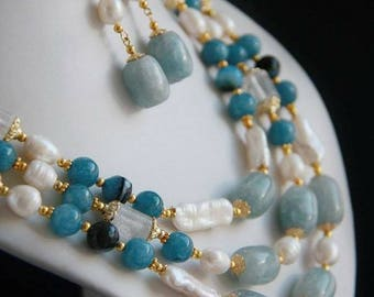 Winter Morning necklace, braslet and earrings set