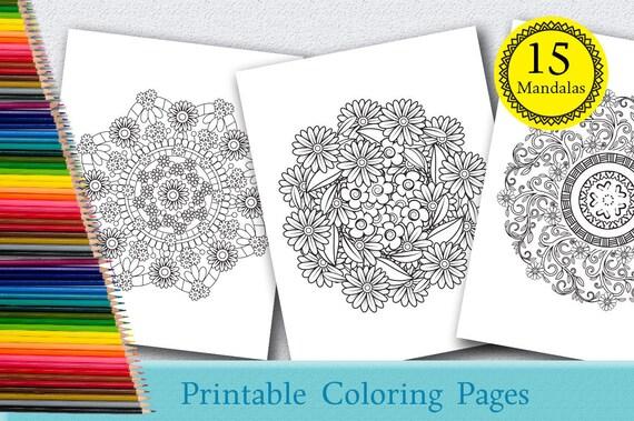 Mandala Coloring Pages Adults Printable : Floral mandalas coloring pages for adults 15 printable