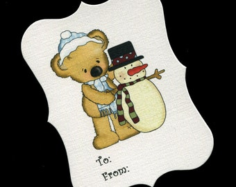12 Christmas Gift Tags - To And From Tags - Christmas Tags - Favor Tags - Cookie Tags - Bag Tags - Bear With Snowman
