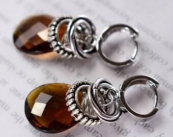earrings, topaz earrings, sterling silver earrings,  bohemian earrings, christmas for her, Black Friday sale, Cyber Monday sale, brown
