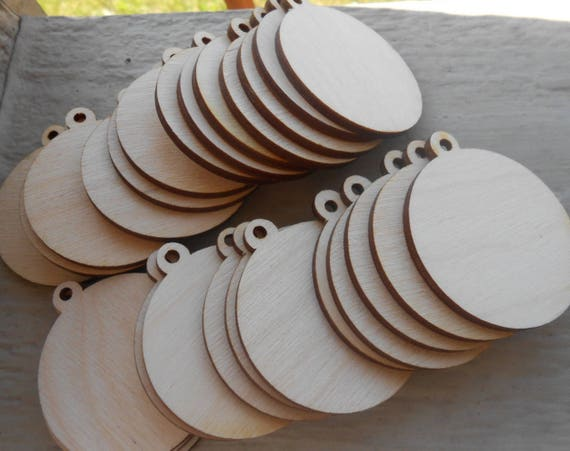 """100 Wood Ornament Tags. Pendant Circles, CHOOSE YOUR SIZE. D.I.Y Christmas Ornaments. 1/8"""" Thick, Laser Cut. Custom Orders Welcome."""