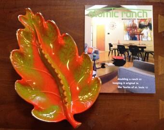 Orange and green leaf shaped California pottery large console ashtray