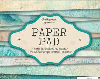 Block paper 15 x 15 - 36feuilles - 170g - soft green - PPSL36