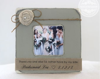 Personalized Bridesmaid Maid of Honor Matron of Honor Gift. Personalized Distressed, Shabby Chic, Rustic Picture Frame