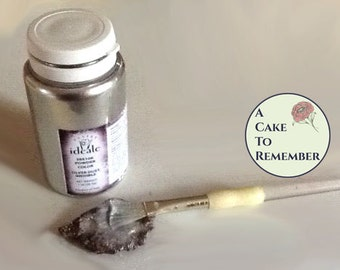 1 ounce Silver luster dust highlighter for cakes- Decorative use only, non-edible high gloss silver powder for gumpaste and cake decorating