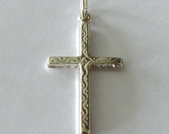 Cross Pendant - Solid Sterling Silver Patterned Style Cross - Double Sided