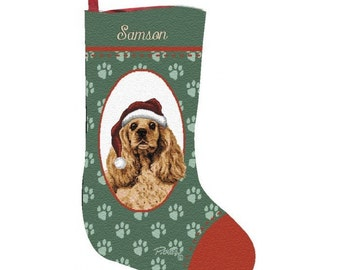 Cocker Spaniel Dog Personalized Christmas Stocking