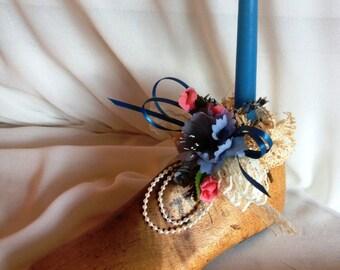 Vintage Child's Wooden Shoe Mold Candle Holder, Childs Shoe Mold, Vintage Candle Holder, Floral Arrangement