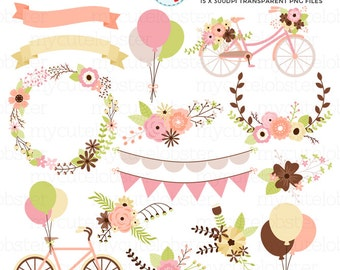 Bicycles & Flowers Clipart Set - bikes clip art, wedding clipart, floral, vintage - personal use, small commercial use, instant download