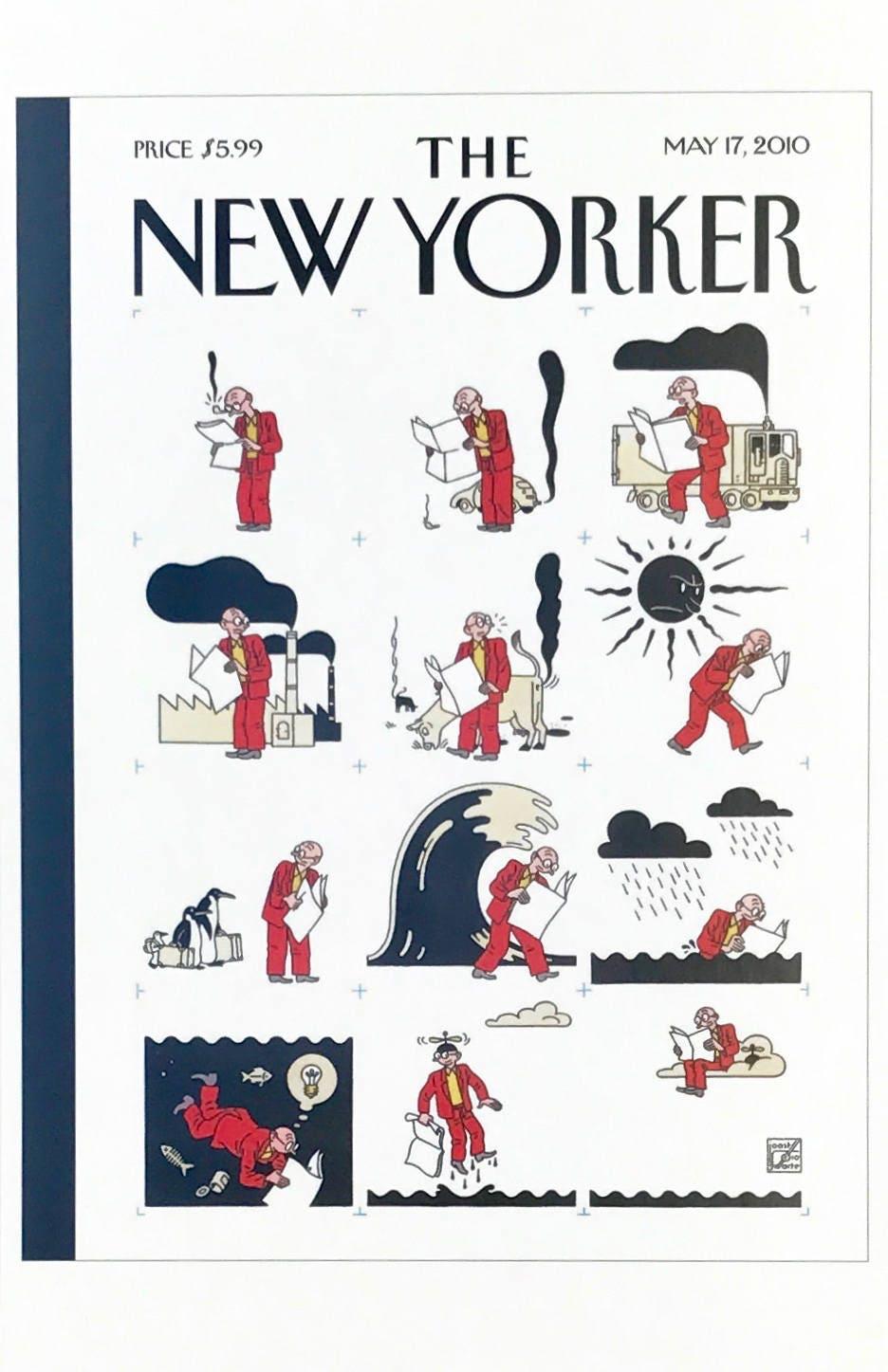 Postkarte mit einem berühmten \'New Yorker\' Cover die
