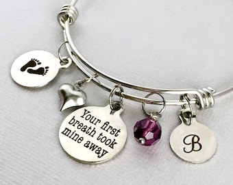 NEW MOM Bracelet, Your First Breath Took Mine Away, New Mom Gift,  New Mother Jewelry, First Mother's Day