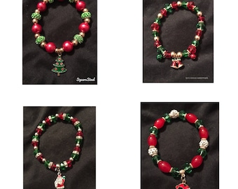 Christmas themed beaded charm bracelets.