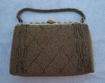 Vintage 1950s Glass Beaded Bronze Purse with Rhinestone Decorated Frame - Pristine Condition - Beaded Evening Bag - Beaded Purse