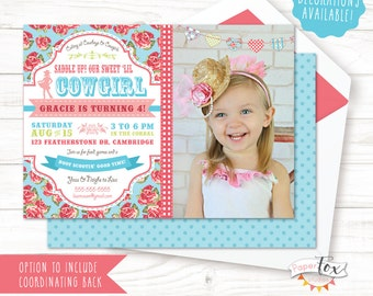 Cowgirl Birthday Invitation / Cowgirl Party Invitation / Cowgirl Invitation / Cowgirl Party Decorations / Country Chic Cowgirl / PRINTABLE