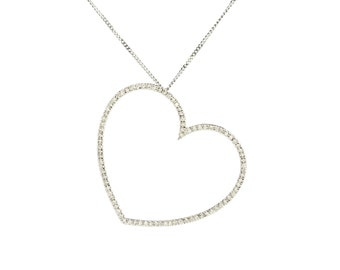 A jewelled diamond heart pendant and chain in 18ct white gold
