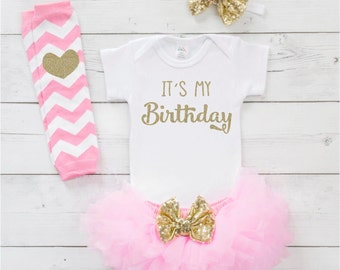 One Year Old Girl Birthday Outfit Pink and Gold Tutu Birthday Girl Outfit Set Cake Smash Photo Prop 269S