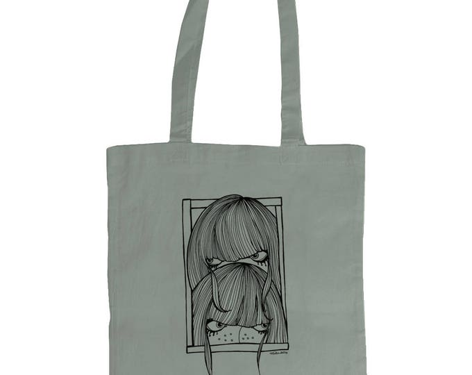 Seek Not Hide. Shy Girls Original Line Drawing Illustrated Graphic Tote Bag. Grey .