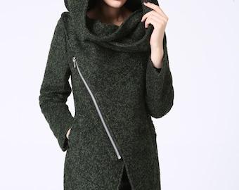 asymmetrical coat, short jacket, Wool Coat, wool jacket, Asymmetrical jacket, Forest green coat, hooded jacket, ladies clothing (1056)