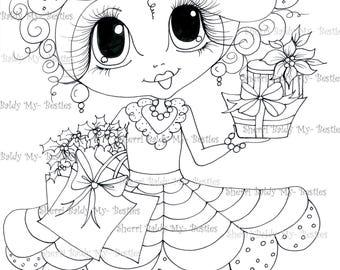 INSTANT DOWNLOAD Digital Digi Stamps Big Eye Big Head Dolls Digi  Img801 Holiday Shopping By Sherri Baldy