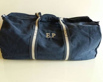 Vintage Travel Duffel in custom canvas cotton with embroidered monogram