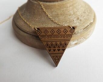 Wood Necklace - Wood Necklace Pendant - Aztec Design - Laser cut Necklace - Walnut wood