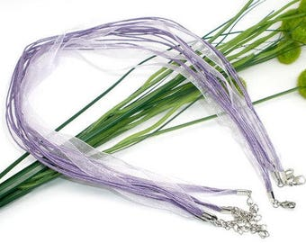 2 light purple/VIOLET waxed cotton thread and organza Ribbon necklaces