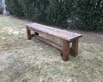Farmhouse Style Bench, Farm Table Bench, Rustic Bench, Wooden Bench, Kitchen Bench, Custom Bench - All Sizes and Stains