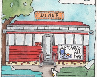 Breakfast - Original Watercolor Painting