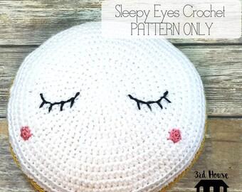 Sleepy Eyes Cushion Crochet Pattern - Pattern Only - Sleepy Eyes