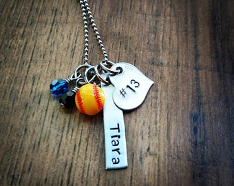 Hand Stamped Personalized Softball Necklace - with Team Colors - Softball Team gift - Softball Gifts - Girls Softball Gifts