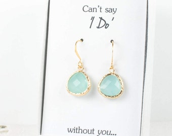 Mint Gold Earrings, Gold Green Earrings, Mint Wedding Jewelry, Bridesmaid Gift, Bridesmaid Earrings, Green Bridal Accessories