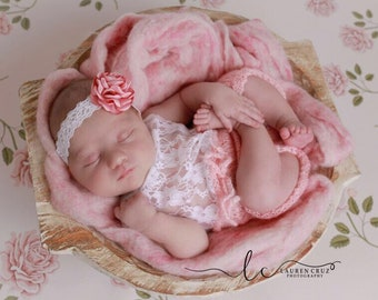 Baby Pink mohair and lace halter top romper AND/OR satin flower lace headband for newborn photos, by Lil Miss Sweet Pea