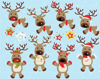 Clipart - Christmas / Santa's Vintage Reindeer - Digital Clip Art (Instant Download)