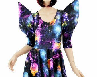 Mega Huge Sharp Shoulder Galaxy Skater Dress Darted  Pointy Sleeve Fit and Flare Dress 151182