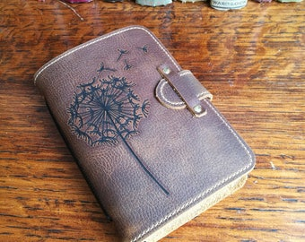 Leather Journal, leather travel journal, sketchbook, notepad, dandelion clock, dandelion, 3rd anniversary, leather book, artist sketchbook
