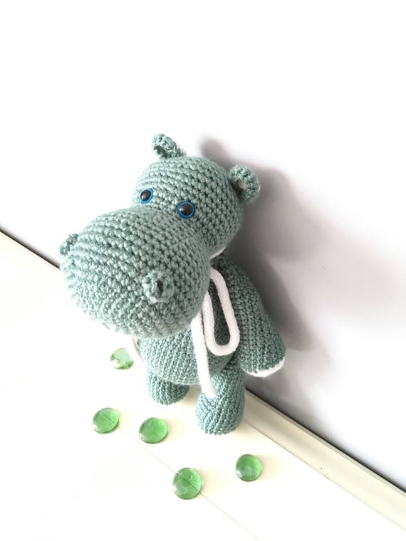 Crochet mint colored Hippopotamus Gift for kids Home decor Boys Girls Soft cute Hippo Baby shower gift Amigurumi Hippopotamus Handmade