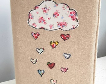 Handmade linen notebook cover - embroidered notebook cover - made in the UK