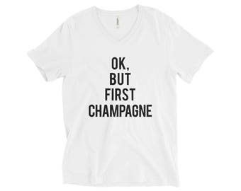 RESERVED: 9 V-NECK T-shirts Ok, But First CHAMPAGNE T-Shirt - Bridal Party Getting Ready Outfit