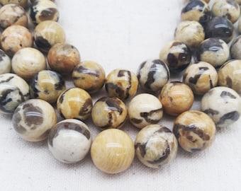Feldspar Graphite Round Beads - (2 available sizes)
